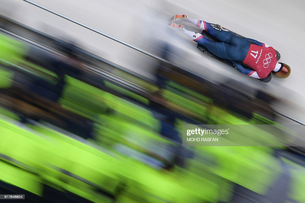 John Daly practices in the men's skeleton training session at the Olympic Sliding Centre, during the Pyeongchang 2018 Winter Olympic Games in Pyeongchang, on February 13, 2018. / AFP PHOTO / Mohd RASFAN