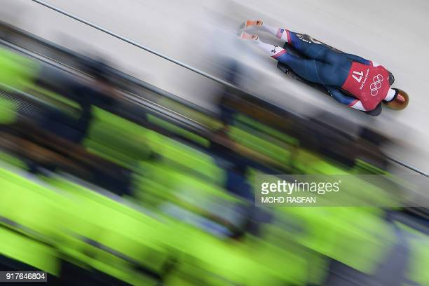 John Daly practices in the men's skeleton training session at the Olympic Sliding Centre during the Pyeongchang 2018 Winter Olympic Games in...
