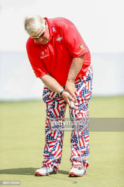 John Daly putts on eighteen during the final round of the American Family Insurance Championship Champions Tour golf tournament on June 24 2018 at...