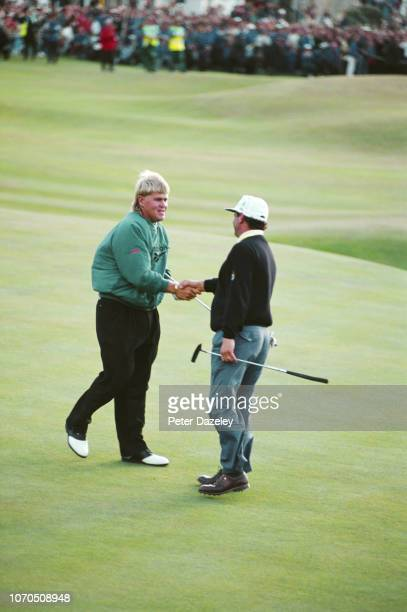 John Daly shaking the hand of Constantino Rocca after winning on 18th Green during the 1995 Open Championship on July 231995 at the Old Course at St...