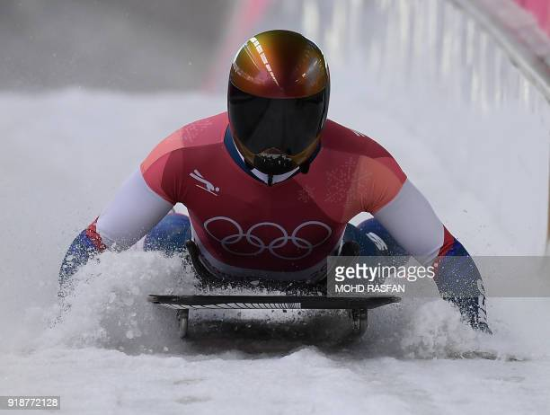 US John Daly slows down at the end of the mens's skeleton heat 3 run during the Pyeongchang 2018 Winter Olympic Games at the Olympic Sliding Centre...