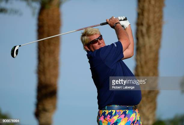 John Daly tees off on the 11th hole during the first round of the CareerBuilder Challenge at the Jack Nicklaus Tournament Course at PGA West on...