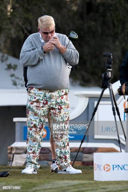 John Daly waits to tee off on the 10th tee during the first round of the PNC Father/Son Challenge at The RitzCarlton Golf Club on December 14 2017 in...