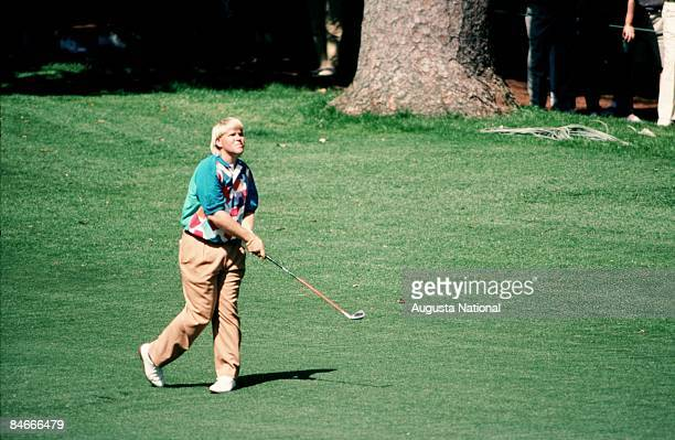 John Daly watches his shot from the fairway during the 1993 Masters Tournament at Augusta National Golf Club on April 1993 in Augusta Georgia