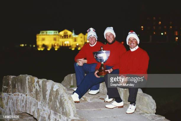 John Daly,Payne Stewart and Fred Couples of the United States celebrate winning the Alfred Dunhill Cup on 17th October 1993 on the Old Course at St...