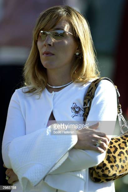 John Daly's wife Sherrie Daly watches the play during the third round of the Buick Invitational at Torrey Pines Golf Course February 14, 2004 in La...