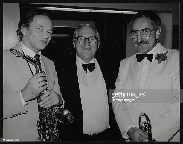 John Dankworth Dennis Matthews and Don Lusher at a concert by the Ted Heath Orchestra Barbican Hall London 5 December 1985 Artist Denis Williams