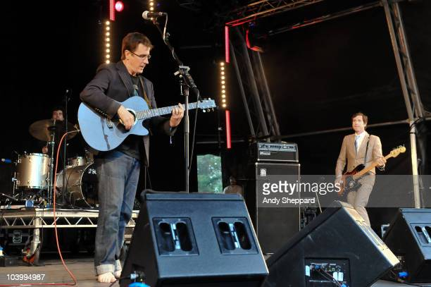 John Darnielle and Peter Hughes of American indie-rock band Mountain Goats perform on stage during day one of End Of The Road Festival 2010 at Larmer...