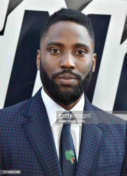 John David Washington arrives at the premiere of Focus Features' 'BlacKkKlansman' at Samuel Goldwyn Theater on August 8 2018 in Beverly Hills...