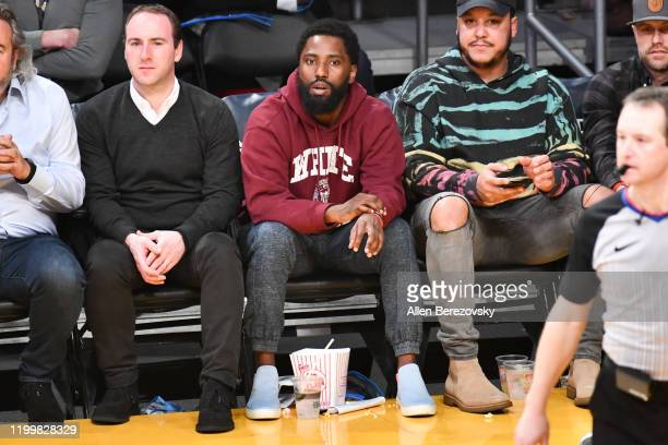 John David Washington attends a basketball game between the Los Angeles Lakers and the Orlando Magic at Staples Center on January 15 2020 in Los...