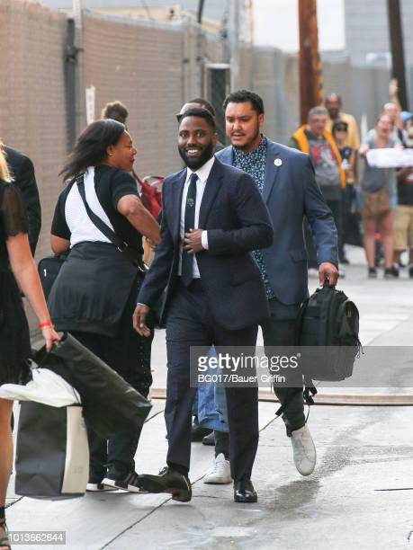 John David Washington is seen arriving at 'Jimmy Kimmel Live' on August 08 2018 in Los Angeles California