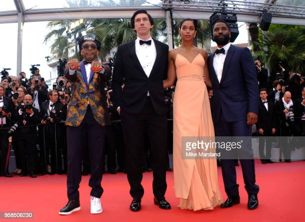 John David Washington Laura Harrier Adam Driver and Spike Lee attend the screening of 'Blackkklansman' during the 71st annual Cannes Film Festival at...