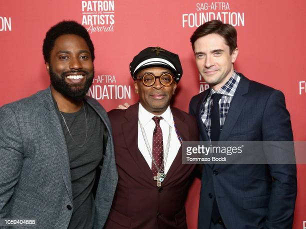 John David Washington Spike Lee and Topher Grace attend the SAGAFTRA Foundation's 3rd Annual Patron of the Artists Awards at the Wallis Annenberg...