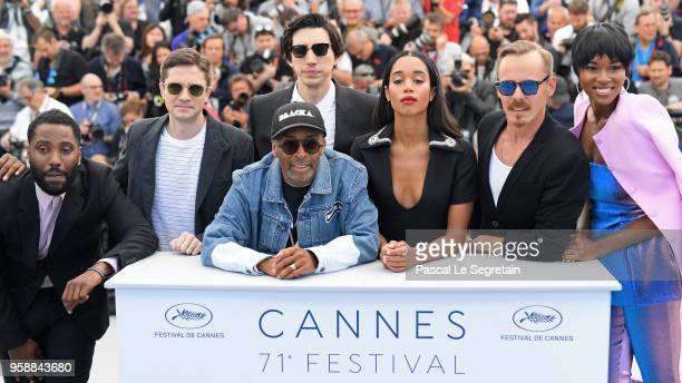 John David Washington Topher Grace Adam Driver director Spike Lee Laura Harrier Jasper Paakkonen and Damaris Lewis attend the photocall for...