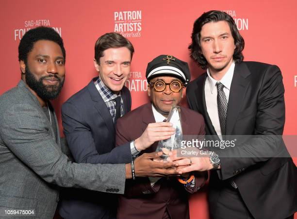John David Washington Topher Grace Patron of the Artists Award recipient Spike Lee and Adam Driver attend the SAGAFTRA Foundation's 3rd Annual Patron...