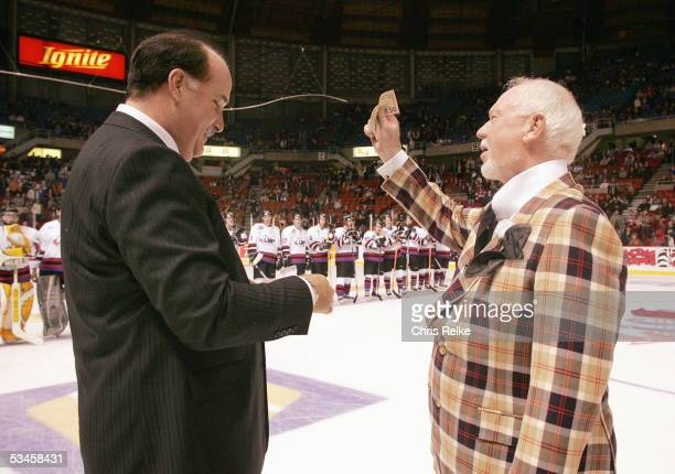 John Davidson, left, and Don Cherry meet prior to the Top Prospects game at the Pacific Coloseum on January 19, 2005 in Vancouver, British Columbia,...