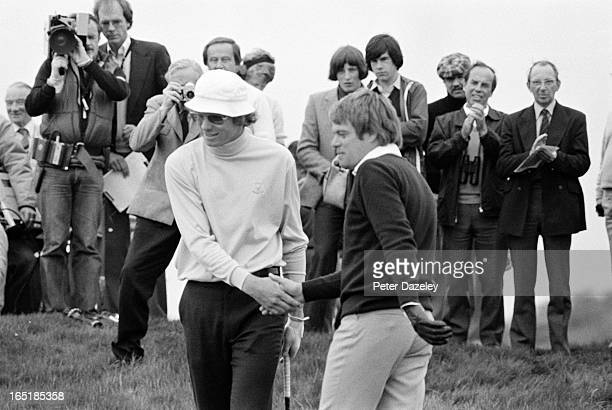 John Davies of England during the final day of the 1979 Walker Cup Matches at the Honourable Company of Edinburgh Golfers Muirfield on May 31 1979 in...