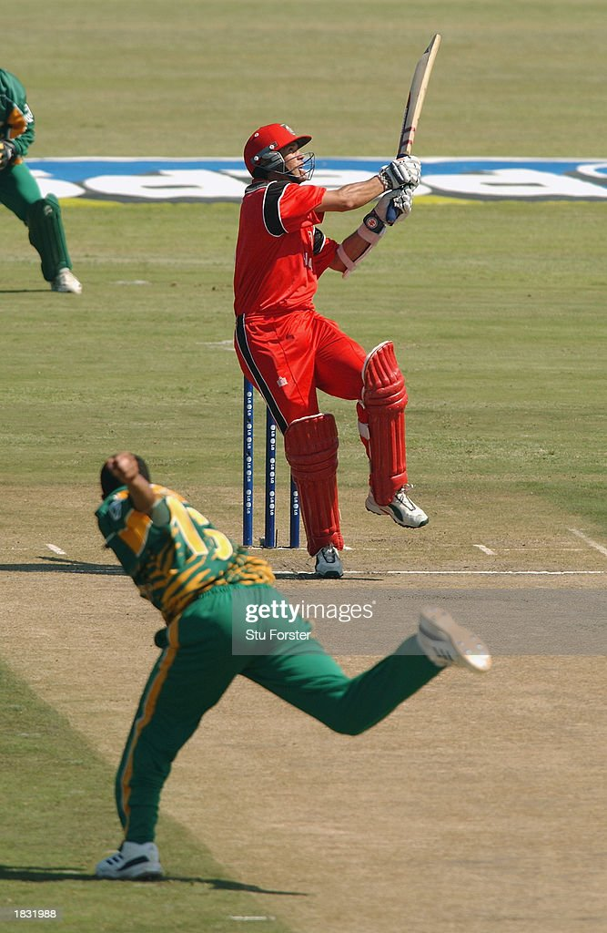 John Davison of Canada hooks the ball off Makhaya Ntini of South Africa delivery only to be caught on the boundary for just one run during the ICC Cricket World Cup 2003 Pool B match between Canada and South Africa held on February 27, 2003 at Buffalo Park, in East London, South Africa. South Africa won the match by 118 runs.