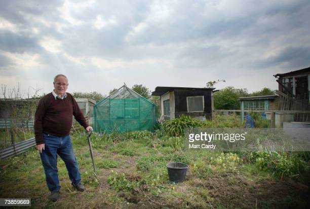 John Day stands outside his shed on his plot on the Manor Garden Allotments at the heart of the 2012 Olympic site on April 11, 2007 in London,...