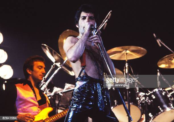 John Deacon and Freddie Mercury of Queen 'News of the World Tour 78'