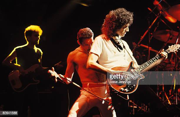 John Deacon Freddie Mercury and Brian May of Queen 1982 Tour