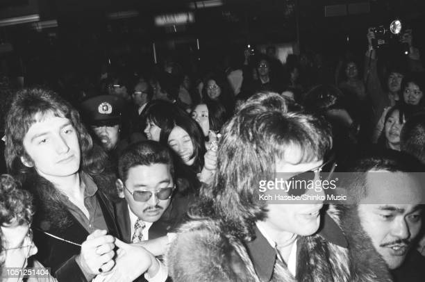John Deacon Freddie Mercury of Queen arrived at Haneda International airport Tokyo Japan on their Night At The Opera tour Tokyo Japan 20 March 1976...