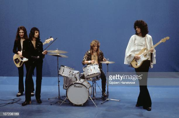LR John Deacon Freddie Mercury Roger Taylor and Brian May of Queen perform 'Killer Queen' on Top Pop TV show on 22nd November 1974 in Hilversum...