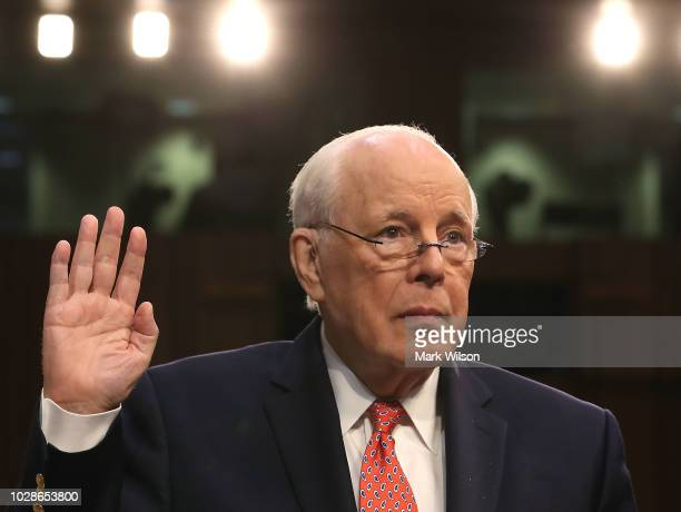 John Dean former White House counsel to President Nixon is sworn in during a hearing on the nomination of federal appeals court judge Brett Kavanaugh...