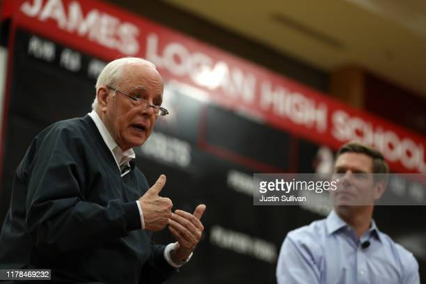 John Dean former White House counsel under Richard Nixon speaks during a town hall on impeachment with US Rep Eric Swalwell at James Logan High...
