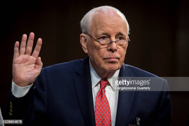 John Dean White House Counsel for United States President Richard Nixon is sworn in to testify on the fourth day of Brett Kavanaugh's hearing before...