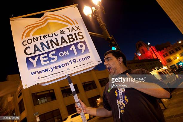 John Decker a campaign worker for Yes On 19 tries to get some last minute votes for a proposal to legalize marijuana in front of Oaksterdam...