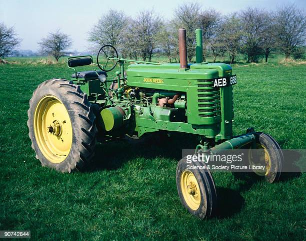 John Deere Model 'BR' agricultural tractor with twincylinder horizontal overhead valve gasoline / kerosene engine manufactured by the John Deere Co...