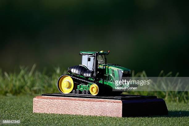 John Deere tee marker is seen during the first round of the John Deere Classic at TPC Deere Run on August 11 2016 in Silvis Illinois