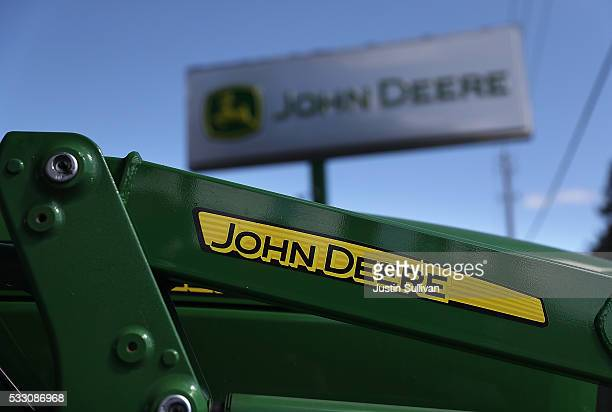 John Deere tractor is displayed at Belkorp Ag on May 20 2016 in Santa Rosa California Illinois based Deere Co reported a 2825 percent decline in...