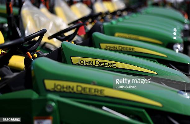 John Deere tractors are displayed at Belkorp Ag on May 20 2016 in Santa Rosa California Illinois based Deere Co reported a 2825 percent decline in...