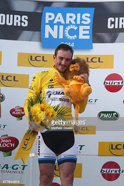 John Degenkolb of Germany and Team GiantShimano celebrates claiming the leaders yellow jersey after victory during stage 3 of the ParisNice race from...