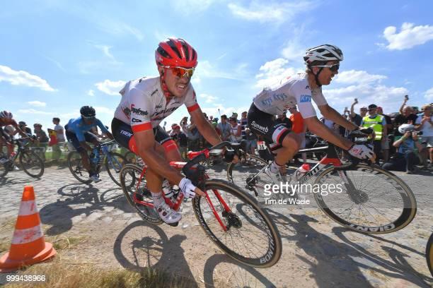 John Degenkolb of Germany and Team Trek Segafredo / Soren Kragh Andersen of Denmark and Team Sunweb White Best Young Rider Jersey / Cobbles / Pave /...