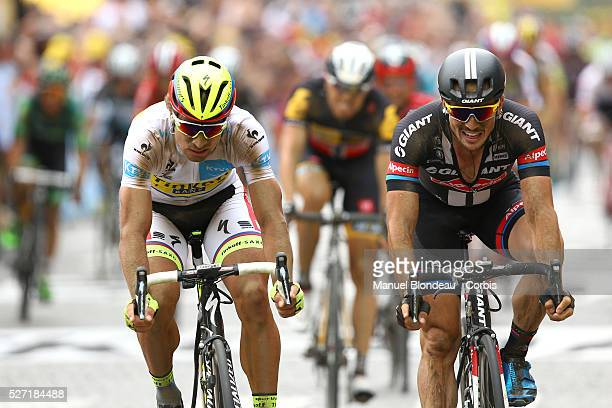 John Degenkolb of Germany riding for Team GiantAlpecin sprints to finish second ahead of Peter Sagan of Slovakia riding for TinkoffSaxo during the...