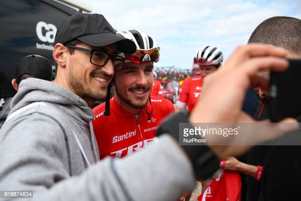 John Degenkolb of TrekSegafredo take a selfie with a fan before the 2nd stage of the cycling Tour of Algarve between Sagres and Alto do Foia on...