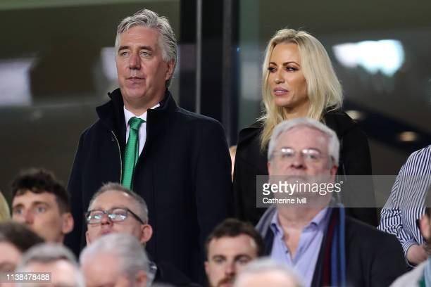 John Delaney Executive Vice President of the Football Association of Ireland and his partner Emma English look on during the 2020 UEFA European...