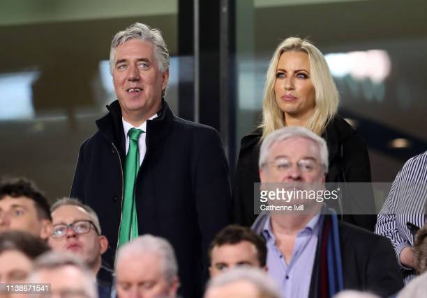 John Delaney Executive Vice President of the Football Association of Ireland and his partner Emma English during the 2020 UEFA European Championships...