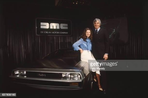 John DeLorean and his wife Christina Ferrare with the famous DeLorean car