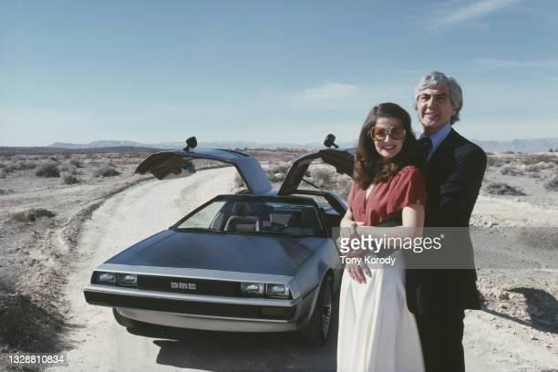 John DeLorean and his wife Cristina Ferrare with the famous DeLorean car.