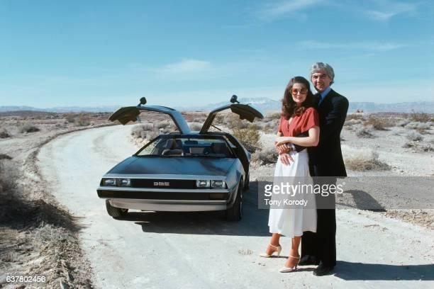 John DeLorean and his wife Cristina Ferrare with the famous DeLorean car