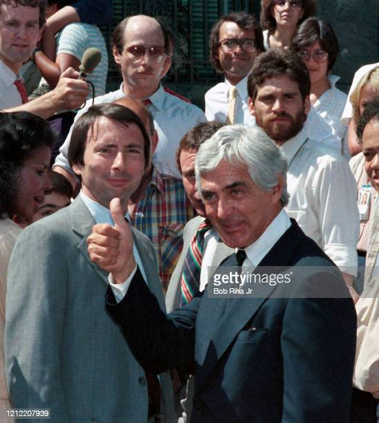 John DeLorean, rejoices after Acquittal outside U.S. Federal Courthouse in Los Angeles, August 16, 1984 in Los Angeles, California.