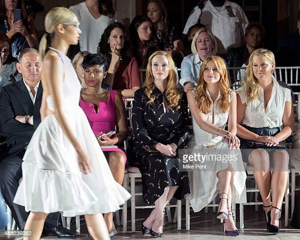John Dempsey, Jennifer Hudson, Christina Hendricks, Bella Thorne and Amy Schumer attend the Zac Posen Spring 2016 fashion show during New York...