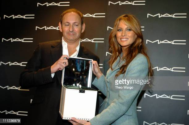 John Demsey and Melania Trump during Melania Trump Receives MAC Cosmetics Star of the Week at The Tent Bryant Park in New York City New York United...