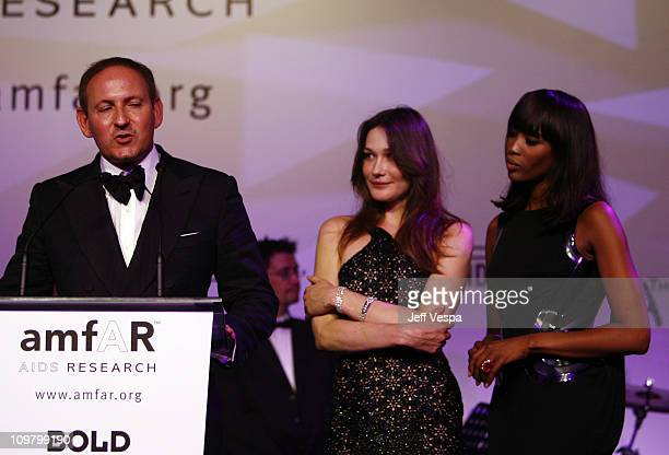 John Demsey Carla Bruni and Naomi Campbell at amfAR's Cinema Against AIDS event presented by Bold Films the M*A*C AIDS Fund and The Weinstein Company...