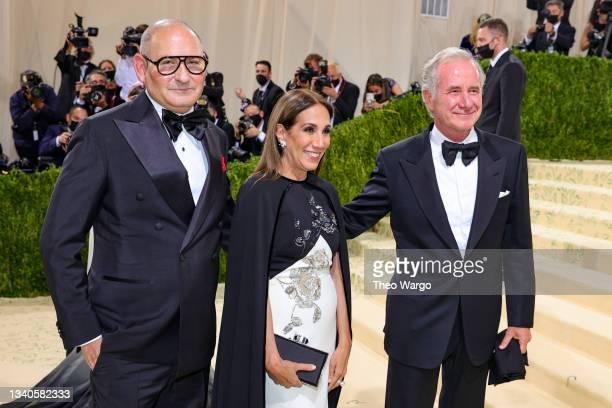 John Demsey, Jane Hertzmark Hudis and Fabrizio Freda attend The 2021 Met Gala Celebrating In America: A Lexicon Of Fashion at Metropolitan Museum of...