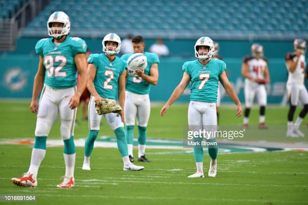 John Denney Matt Haack Greg Joseph and Jason Sanders of the Miami Dolphins warm up before a preseason game against the Tampa Bay Buccaneers at Hard...